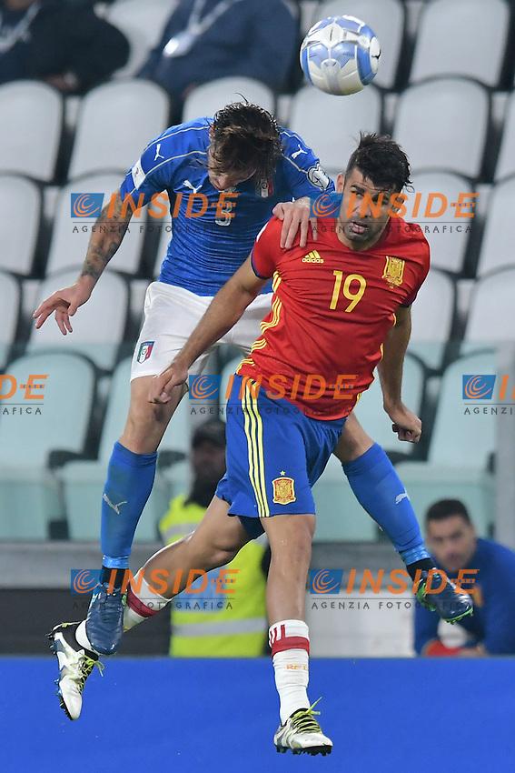 Alessio Romagnoli Italia, Diego Costa Spain <br /> Torino 06-10-2016 Juventus Stadium <br /> World Cup Qualifiers Italy - Spain / Italia - Spagna. Foto Andrea Staccioli / Insidefoto