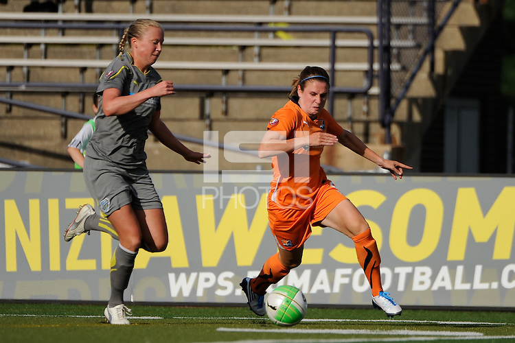 Sara Larsson (7) of the Philadelphia Independence defends Heather O'Reilly (9) of Sky Blue FC. The Philadelphia Independence defeated Sky Blue FC 2-1 during a Women's Professional Soccer (WPS) match at John A. Farrell Stadium in West Chester, PA, on June 6, 2010.