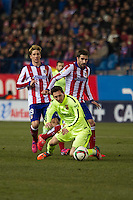 Atletico de Madrid´s Fernando Torres and Cani and Barcelona´s Lionel Messi during 2014-15 Spanish King Cup match between Atletico de Madrid and Barcelona at Vicente Calderon stadium in Madrid, Spain. January 28, 2015. (ALTERPHOTOS/Luis Fernandez) /nortephoto.com<br />