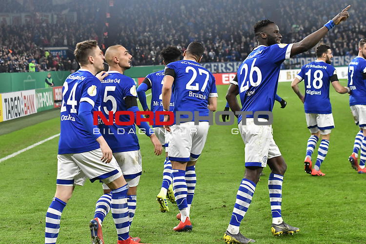 06.02.2019, Veltins-Arena, Gelsenkirchen, GER, DFB-Pokal Achtelfinale, Schalke 04 vs Fortuna Duesseldorf, DFL regulations prohibit any use of photographs as image sequences and/or quasi-video<br /> <br /> im Bild Salif Sane (#26, FC Schalke 04) jubelt nach seinem Tor zum 2:0<br /> <br /> Foto © nph/Mauelshagen