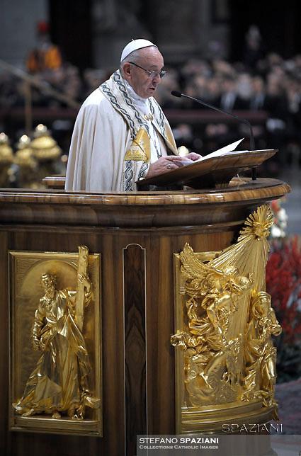 Pope Francis Vespers and Te Deum prayers in Saint Peter's Basilica at the Vatican. on December 31, 2016