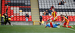 Adam Rooney scores the winning goal for Aberdeen as he heads past Partick Thistle keeper Tomas Cerny
