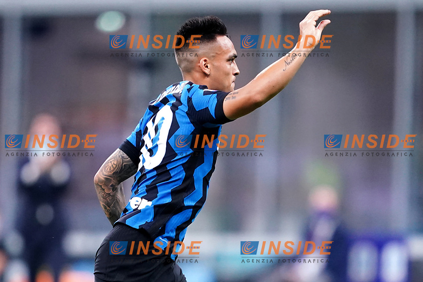 Lautaro Martinez of FC Internazionale celebrates after socirng a goal during the Serie A football match between FC Internazionale and SSC Napoli at San Siro stadium in Milano (Italy), July 28th, 2020. Play resumes behind closed doors following the outbreak of the coronavirus disease. Photo Marco Canoniero / Insidefoto