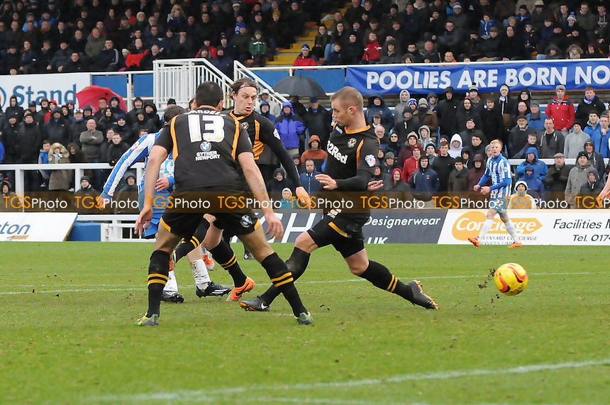 Luke James of Hartlepool United scores the opening goal of the game - Hartlepool United vs Newport County - Sky Bet League Two Football at Victoria Park, Hartlepool, County Durham - 15/02/14 - MANDATORY CREDIT: Steven White/TGSPHOTO - Self billing applies where appropriate - 0845 094 6026 - contact@tgsphoto.co.uk - NO UNPAID USE