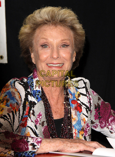 "CLORIS LEACHMAN.Nine-time Emmy Award Winner and Star of Dancing with the Stars signs her new book ""Cloris"" held at Bookends Book Store, Ridgewood, New Jersey, USA,.1st April 2009..portrait headshot black white blue multi-coloured print jacket beads necklace .CAP/ADM/PZ.©Paul Zimmerman/Admedia/Capital Pictures"