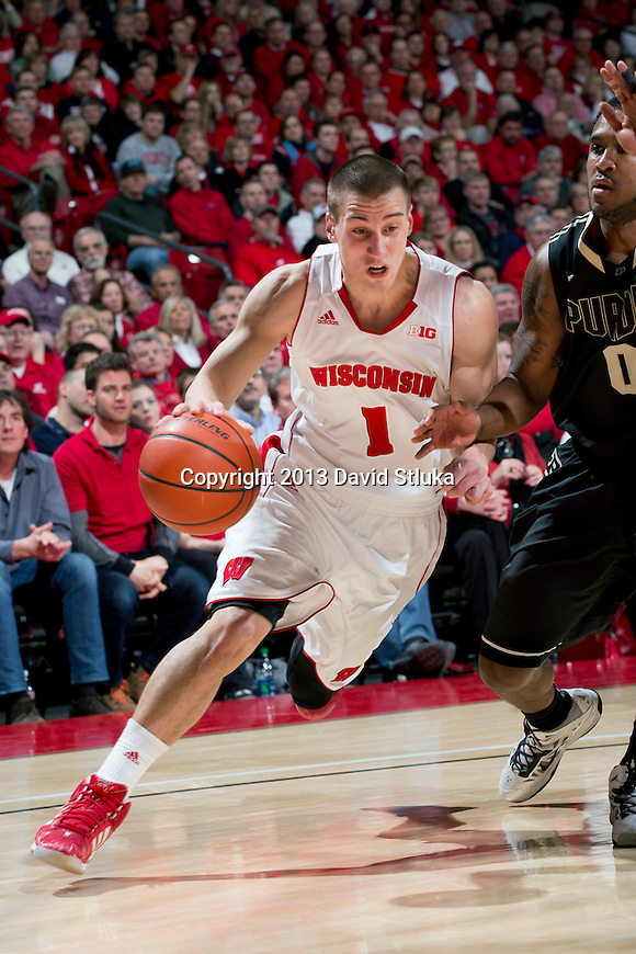 Wisconsin Badgers guard Ben Brust (1) drives to the basket during a Big Ten Conference NCAA college basketball game against the Purdue Boilermakers Sunday, March 3, 2013, in Madison, Wis. Purdue won 69-56. (Photo by David Stluka)