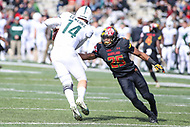 College Park, MD - November 3, 2018:  Maryland Terrapins defensive back Antoine Brooks Jr. (25) tries to tackle Michigan State Spartans quarterback Brian Lewerke (14) during the game between Michigan St. and Maryland at  Capital One Field at Maryland Stadium in College Park, MD.  (Photo by Elliott Brown/Media Images International)