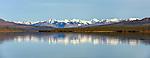 Panorama of Alaska Range and Paxson Lake in Southcentral Alaska. Autumn. Morning.