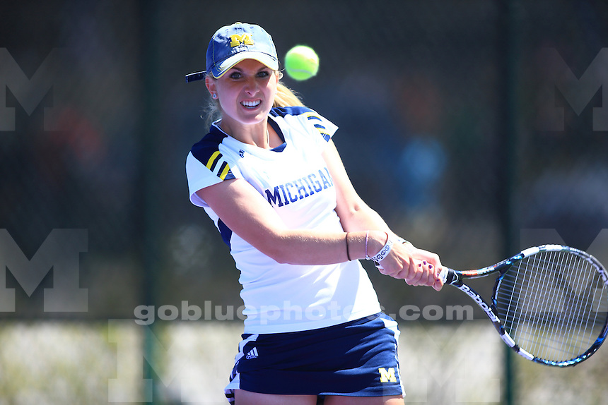The University of Michigan women's tennis team won their first round of the 2014 Big Ten Women's Tennis Tournament in Evanston, IL at Northwestern University. April 25, 2014