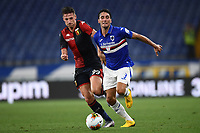 Andrea Pinamonti of Genoa and Tommaso Augello of UC Sampdoria during the Serie A football match between UC Sampdoria and Genoa CFC at stadio Marassi in Genova (Italy), July 22th, 2020. Play resumes behind closed doors following the outbreak of the coronavirus disease. <br /> Photo Matteo Gribaudi / Image Sport / Insidefoto