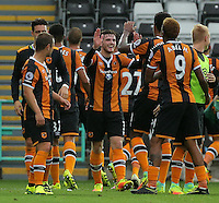 Hull City players celebrate their win during the Premier League match between Swansea City and Hull City at the Liberty Stadium, Swansea on Saturday August 20th 2016