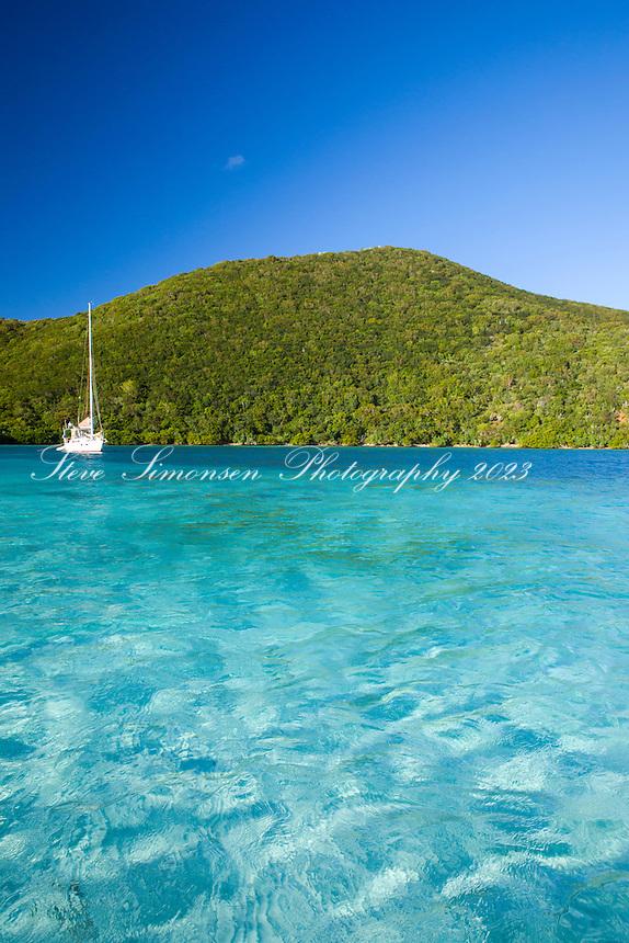Sailboat in Newfound Bay<br /> St. John<br /> US Virgin Islands