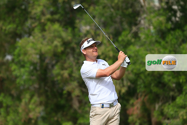 Soren Kjeldsen (DEN) on the 4th during Round 1 of the Omega Dubai Desert Classic, Emirates Golf Club, Dubai,  United Arab Emirates. 24/01/2019<br /> Picture: Golffile | Thos Caffrey<br /> <br /> <br /> All photo usage must carry mandatory copyright credit (© Golffile | Thos Caffrey)
