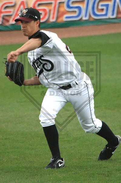 APPLETON - APRIL 2010: Efrain Nieves of the Wisconsin Timber Rattlers, Class-A affiliate of the Milwaukee Brewers, in action during a game on April 10, 2010 at Fox Cities Stadium in Appleton, Wisconsin. (Photo by Brad Krause)