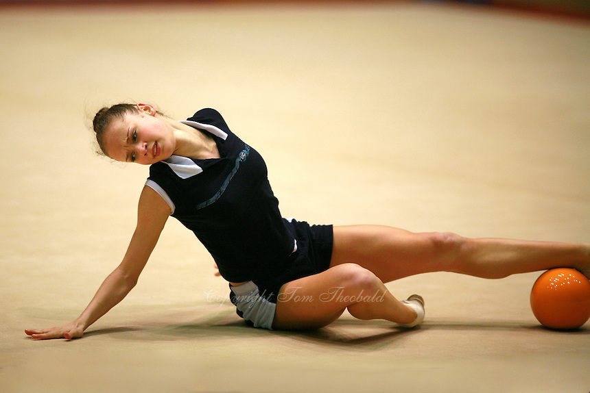 Marina Shpekt of Russia trains her ball routine before Burgas Grand Prix Rhythmic Gymnastics on May 5, 2006.  (Photo by Tom Theobald)