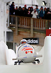 15 December 2007: Canada 3 pilot Lisa Szabon, with Jaime Cruickshank on the brakes, head down the straightaway towards Turn 16 during their second run of the FIBT World Cup Bobsled Competition at the Olympic Sports Complex on Mount Van Hoevenberg, at Lake Placid, New York, USA. ..Mandatory Photo Credit: Ed Wolfstein Photo