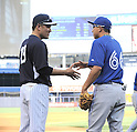 Masahiro Tanaka (Yankees), Munenori Kawasaki (Blue Jays),<br /> JUNE 18, 2014 - MLB : Japan's Masahiro Tanaka (L) of the New York Yankees shakes hands with Japan's Munenori Kawasaki of the Toronto Blue Jays (R) before the Major League Baseball game at Yankee Stadium in the Bronx, NY, USA.<br /> (Photo by AFLO)