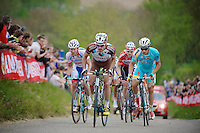 Christophe Riblon (FRA/AG2R-La Mondiale) leading the race up the very steep Gulperberg (max 19%).<br /> Christophe would later get the combativity price for the day.<br /> <br /> Amstel Gold Race 2014