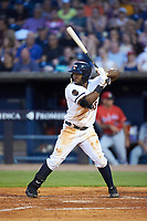 Christin Stewart (20) of the Toledo Mud Hens at bat against the Louisville Bats at Fifth Third Field on June 16, 2018 in Toledo, Ohio. The Mud Hens defeated the Bats 7-4.  (Brian Westerholt/Four Seam Images)