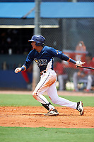 GCL Rays shortstop Luis Leon (1) grounds into a double play during the first game of a doubleheader against the GCL Twins on July 18, 2017 at Charlotte Sports Park in Port Charlotte, Florida.  GCL Twins defeated the GCL Rays 11-5 in a continuation of a game that was suspended on July 17th at CenturyLink Sports Complex in Fort Myers, Florida due to inclement weather.  (Mike Janes/Four Seam Images)