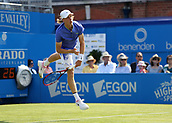 June 19th 2017, Queens Club, West Kensington, London; Aegon Tennis Championships, Day 1; Denis Shapovalov of Canada serving the ball versus Kyle Edmund of Great Britain