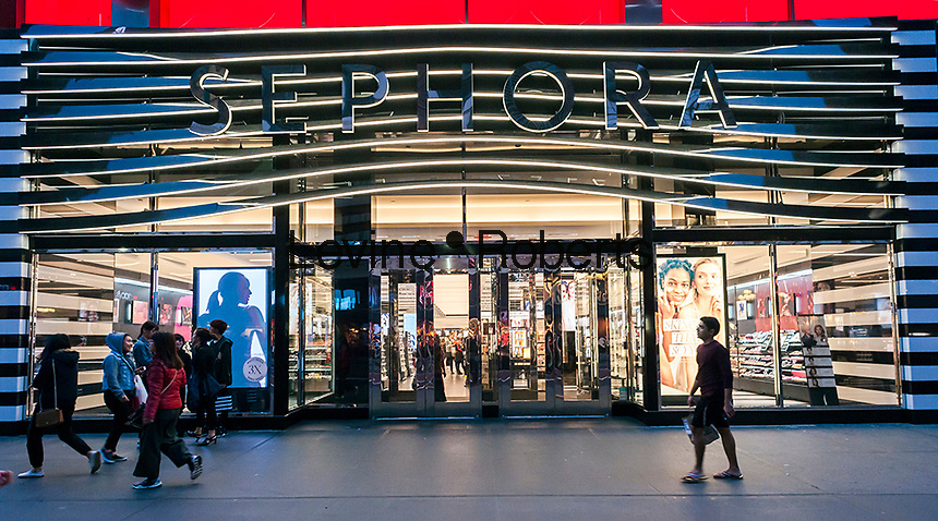A branch of the French make up and beauty chain, Sephora, located in Herald Square in New York on Tuesday, May 9, 2017. Sephora is a brand of the luxury retail conglomerate LVMH. (© Richard B. Levine)
