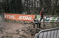 Jim Aernouts (BEL/Telenet-Fidea) can't avoid crashing into (the earlier crashed) Jens Adams (BEL/Pauwels Sauzen-Vastgoedservice)<br /> <br /> Elite Men's Race<br /> CX Vlaamse Druivencross Overijse 2017