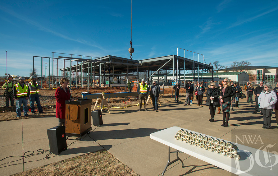 NWA Democrat-Gazette/BEN GOFF @NWABENGOFF<br /> Evelyn Jorgenson, Northwest Arkansas Community College president, makes remarks Wednesday, Jan. 9, 2019, during a topping-out ceremony for the new Integrated Design Lab at Northwest Arkansas Community College in Bentonville. Construction began on the new facility in July. It will be home to the college's workforce construction management and visual arts programs when completed.