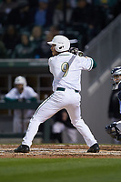 Tommy Bullock (9) of the Charlotte 49ers at bat against the North Carolina Tar Heels at BB&T BallPark on March 27, 2018 in Charlotte, North Carolina. The Tar Heels defeated the 49ers 14-2. (Brian Westerholt/Four Seam Images)