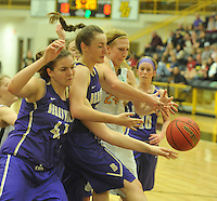 NWA Democrat-Gazette/MICHAEL WOODS &bull; @NWAMICHAELW<br /> Prairie Grove's Sarah james Stone (24) and Berryville's Hannah Morrell (41) and Ally Teague (21) fight for a rebound during the girls  4A-1 District Tournament in Prairie Grove Saturday February 20, 2016.  Visit nwadg.com/photos to see more photographs from the game.