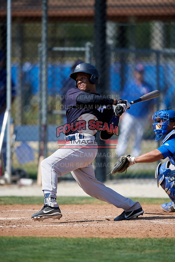 New York Yankees Algeni Mateo (8) during a Minor League Spring Training game against the Toronto Blue Jays on March 18, 2018 at Englebert Complex in Dunedin, Florida.  (Mike Janes/Four Seam Images)