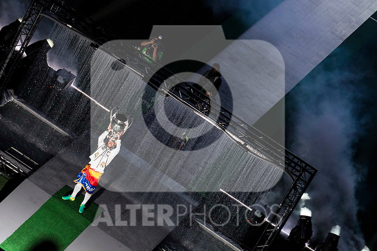 Real Madrid's player Sergio Ramos with the cup during the celebration of the victory of the Real Madrid Champions League at Santiago Bernabeu in Madrid. May 29. 2016. (ALTERPHOTOS/Borja B.Hojas)