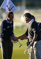 David Howell of England shakes hands with Hugh Grant during Round 1 of the 2015 Alfred Dunhill Links Championship at the Old Course, St Andrews, in Fife, Scotland on 1/10/15.<br /> Picture: Richard Martin-Roberts | Golffile