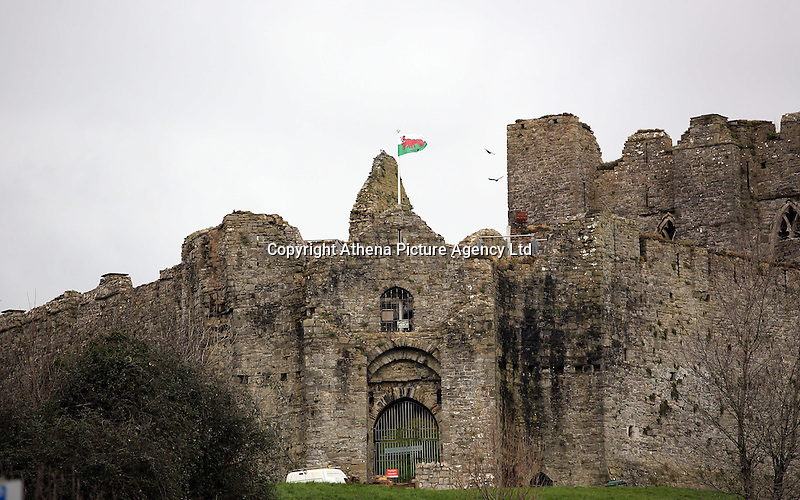 A Wales flag in the shape of a red lobster instead of a red dragon is raised outside Oystermouth Castle, to raise awareness for Skin Care Cymru, in Mumbles, Wales, UK. Tuesday 28 February 2017