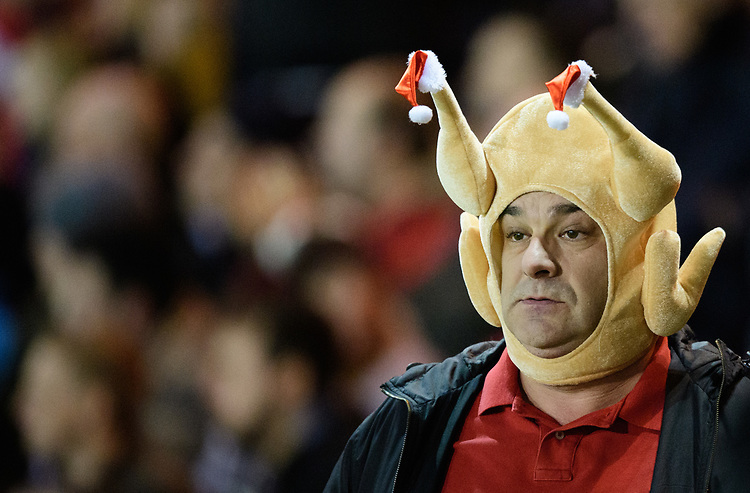 A Lincoln City fan in the festive spirit<br /> <br /> Photographer Chris Vaughan/CameraSport<br /> <br /> The EFL Sky Bet League Two - Lincoln City v Newport County - Saturday 22nd December 201 - Sincil Bank - Lincoln<br /> <br /> World Copyright © 2018 CameraSport. All rights reserved. 43 Linden Ave. Countesthorpe. Leicester. England. LE8 5PG - Tel: +44 (0) 116 277 4147 - admin@camerasport.com - www.camerasport.com