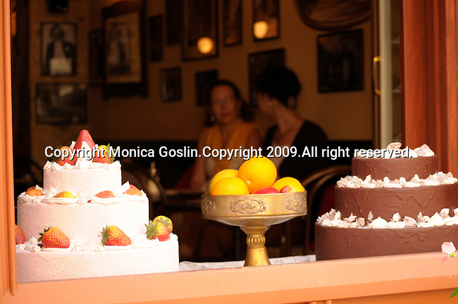 Cakes in the window of Neruda Cafe in Prague, Czech Republic.