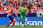 Marcos Llorente of Atletico de Madrid and Takashi Inui of SD Eibar in action during La Liga match between Atletico de Madrid and SD Eibar at Wanda Metropolitano Stadium in Madrid, Spain.September 01, 2019. (ALTERPHOTOS/A. Perez Meca)
