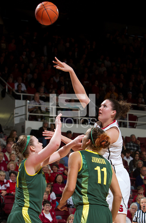 STANFORD, CA - February 26, 2011:  Claire Boothe scores in Stanford's 99-60 victory over Oregon at Stanford, California on February 26, 2011.