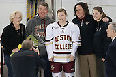 Betsy Leary, Peter Leary, Kate Leary (BC - 28), Courtney Kennedy (BC - Associate Head Coach), Katie King Crowley (BC - Head Coach) -  The Boston College Eagles defeated the visiting Boston University Terriers 5-0 on BC's senior night on Thursday, February 19, 2015, at Kelley Rink in Conte Forum in Chestnut Hill, Massachusetts.