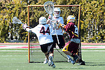 Orange, CA 05/02/10 - Ben Petraglia (Chapman # 44), Matt Sathrum (Chapman # 16) and Kris Saunders (ASU # 21) in action during the Chapman-Arizona State MCLA SLC Division I final at Wilson Field on Chapman University's campus.  Arizona State defeated Chapman 13-12 in overtime.