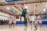 WOODBURY, CT. 08 January 2020-010820BS560 - Wilby's Jeremiah Tripp (11) goes to the basket laying the ball up against Nonnewaug's Ethan Ciesieiski (30) as Nonnewaug players, from left, Colby Steinfeld (1), Tyler Lindberg (11), Jackson Baker (3), and Jon Khazzaka (13) all look on, during a Boys Basketball game betweem Wilby and Nonnewaug at Nonnewaug High School in Woodbury on Wednesday. Bill Shettle Republican-American