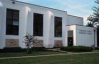 Greenbelt:  Greenbelt Center  Elementary School, 1937.  Note: bas reliefs all along building.  Photo '85.