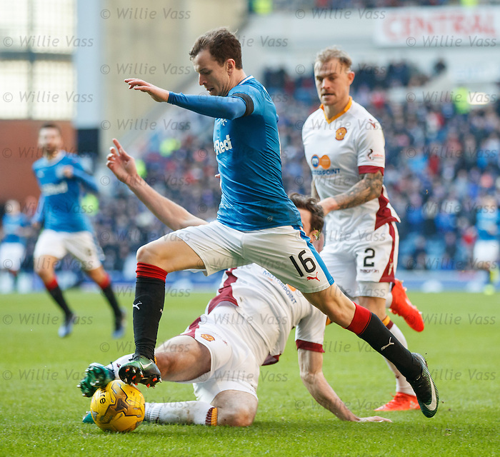 Andy Halliday gets past Ben Heneghan and Richard Tait