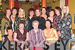 CHEERS: Celebrating Womens Christmas in Paddys Restaurant, Killarney, last Saturday night were, front row l-r: Sheila McCarthy, Ann Cronin, Peggy Cronin and Kate Murphy. Back row l-r: Ann Mangan, Norma Talbot, Mairead Mangan, Joan OSullivan, Muire Cronin, Antoinette Cronin, Joan Cronin, Mag Brosnan and Triona Mangan..
