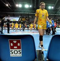 Handball Frauen / Damen  / women 1. Bundesliga - DHB - HC Leipzig : Frankfurter HC - im Bild: unzufriedener Blick bei HCL-Girl Louise Lyksborg nach der bitteren Niederlage . Foto: Norman Rembarz .