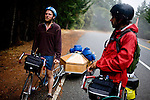 Blind Pilot bassist Luke Ydstie and lead singer Israel Nebeker ride on  Highway 1 in Northern California on September 19, 2008.