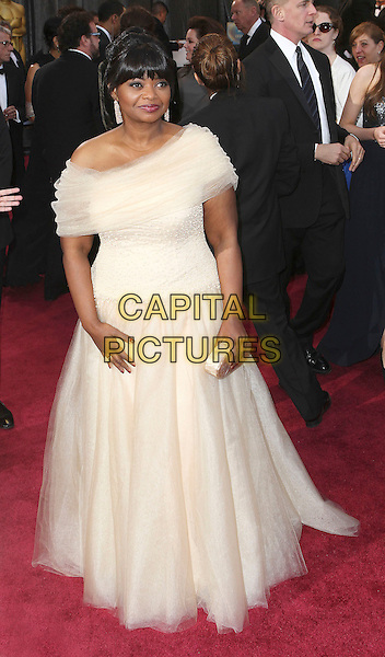 Octavia Spencer.85th Annual Academy Awards held at the Dolby Theatre at Hollywood & Highland Center, Hollywood, California, USA..February 24th, 2013.oscars full length white tulle off the shoulder dress clutch bag.CAP/ADM/SLP/COL.©Colin/StarlitePics/AdMedia/Capital Pictures