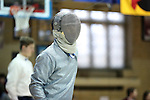 11 February 2017: Duke's Peter Yang prepares for Saber. The Duke University Blue Devils hosted the University of North Carolina Tar Heels at Card Gym in Durham, North Carolina in a 2017 College Men's Fencing match. Duke won the dual match 19-8 overall, 6-3 Foil, 6-3 Epee, and 7-2 Saber.