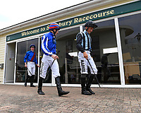 Jockeys leave the weighing room  during Afternoon Racing at Salisbury Racecourse on 12th June 2018