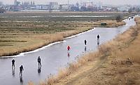 Nederland Zaanstad 2018 . Schaatsen in de Kalverpolder. Foto Berlinda van Dam / Hollandse Hoogte